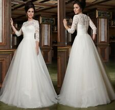 Elegant 3/4 Sleeve Wedding Dress Lace Bridal Gowns Custom Size 4-6-8-10-12-14-20