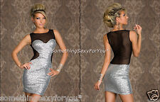 SEXY MINI DRESS IN SILVER/BLACK MADE OF SEQUINS AND LACE. UK 10 EU 38.