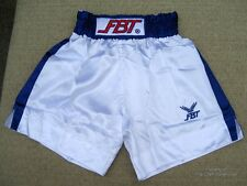 White FBT Muay Thai Shorts with Blue Trim and Slit 4L