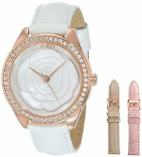 NEW GUESS SWAROVSKI 3D ROSE GOLD LADY WATCH WHITE TAN PINK GOLD LEATHER U0215L1