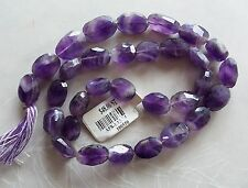 "14"" Strand Cape Amethyst Gemstone Faceted Puffed Oval Beads 9mm-14mm"