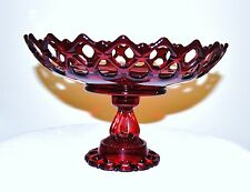 STUNNING WESTMORELAND GLASS RUBY RED DORIC LACE PEDESTAL BOWL
