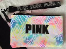 Victoria's Secret Pink ID Wristlet PINK Logo Watercolor & Black Mini Clutch