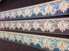 Swag Brocade Damask Wallpaper Border Navy Grey Or Jade Green *double Roll10 mt*