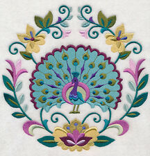 PEACOCK SWEET SYMMETRY NEW SET OF 2 BATH HAND TOWELS EMBROIDERED BY LAURA