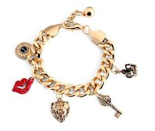 Fashion 5 Charms Lips, Keys, Crown, Evil Eye Gold Chain Gold Bracelet BB106