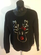 Reindeer Embellished Christmas Sweater Soft Size XL (15-17) No Boundaries Black