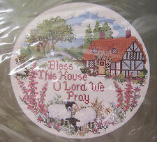 "Vintage Needlepoint Kit ""Bless This House"" Cottage Creative Circle 1984 NIP"