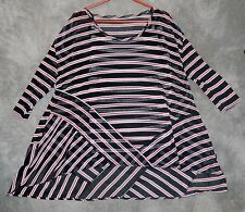Women's Lynn Richie Black / White / Red Sheer Stripe Nylon Top With Tank Size XL