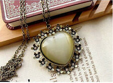 Korea Retro Big Resin Peach Heart Rhinestone Flower Pendant Bronze Necklace