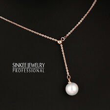 Women Simply White Pearl Long Pendant Necklace Chain 18K Rose Gold Plated Xl614