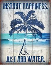 Vintage Replica Tin Metal Sign instant happiness palm tree Surf Board Beach 2039