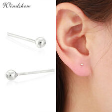 Real 925 Sterling Silver Round Mini Small Ball Stud Earrings Body Jewellery 2mm
