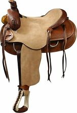 "16""Double T Roper Style Saddle Rough Out Leather Hard Seat.Basket Weave Tooling"