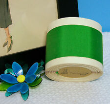 "BTY Vintage 2.0"" Green Cotton Silk Grosgrain Ribbon Petersham Hat Millinery"