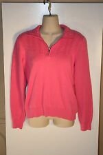 Izod Pink Sweater With Zipper Collar Size M Womens 100% Cotton