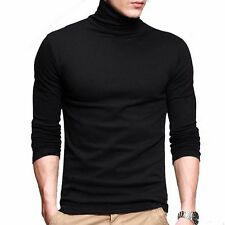 Mens T-shirt Long Sleeve Turtleneck Slim High Elasticity  Basic Tee  L Black