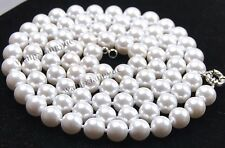 "Long 36"" 10mm White South Sea Shell Pearl Round Beads Gemstones Necklace AAA"