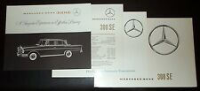 Original MERCEDES-BENZ 300 SE Booklet Brochure Specs 1961-65 Lot /4 Pcs Vintage