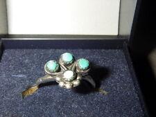 Prachtige pink ring of kinder ring in zilver met turkoois natuursteen - Indiaans