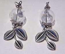 DANDELION SEED WISHING JAR EARRINGS glass bottle orb silver leaves wish luck V2
