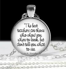Best Teachers Where to Look Not What to See Glass Pendant & Rolo Chain Gift Idea
