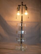 Vtg Mid Century Modern~Stacked Block LUCITE LAMP~2 socket~Springer Jones~WORKING