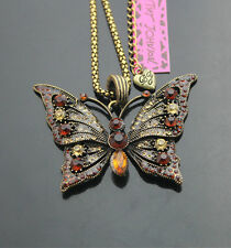B690#4    Betsey Johnson  Crystal Antique Bronze Butterfly Pendant Necklaces