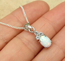 CREATED WHITE OPAL 925 STERLING SILVER PENDANT NECKLACE JEWELLERY