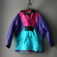 Vintage 80s 90s Adidas Pink Purple Teal Ski jacket coat retro size large hip hop