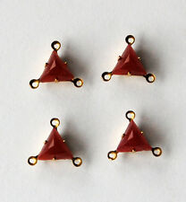 VINTAGE 4 CARNELIAN PATCHWORK GLASS TRIANGLE 3 HOLE CONNECTOR PENDANT BEADS 8mm