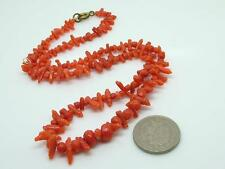 Antique Victorian Graduated Faceted/Carved Bead Salmon Coral Bead Necklace