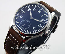 44mm Parnis Seagull black dial Luminous hand winding 6498 men's Watch 210