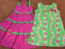 2 Dresses Bonnie Jean & Greggy Girl Size 6X Pink & Green Polka Dot & Floral