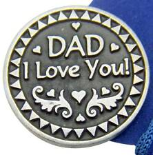Dad I Love You 1 Inch Prayer Coin Token Silver Tone Metal w Bag Italy by MRT