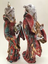 """Chinese Figurine Italy Man Beard Woman Couple Robe Porcelain Numbered 10"""" Crown"""