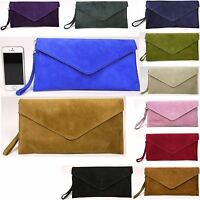 PiDien  New Real Italian Suede Leather Clutch Wedding Party Envelope Bag Purse
