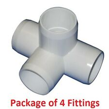 "1-1/4"" Furniture Grade 4-Way Side Outlet Tee PVC Fitting - 4 Pack"