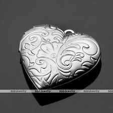 Silver Picture Photo Frame Locket Heart I LOVE YOU Pendant Fit Necklace DIY Gift