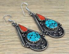 "Superb Turquoise & Red Coral.925 Silver Jewelry Earring""Size-2.7""J-02"