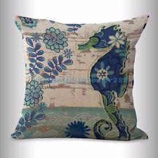 US SELLER- marine nautical ocean sea life seahorse cushion for throw pillows