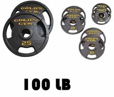 Weight Plate Set 100 lb Pound Gold Olympic Home Exercise Lifting Body Training