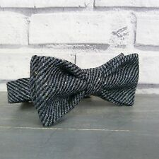 Handmade Wool Tweed Bow Tie - Black/Grey