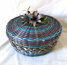 Sewing Basket w/flower top, signature style- Molly Neptune Parker, Passamaquoddy