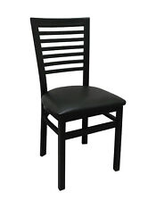 NEW TALL  BLACK METAL LADDERBACK RESTAURANT CHAIR FURNITURE BLACK OR GREEN SEAT