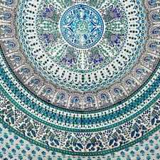 Handmade Elephant Mandala Tapestry 100% Cotton Dorm Tablecloth Bedspread Full