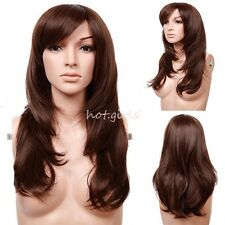 Synthetic Wigs Long Curly Wave Straight Black Brown White Womens Ladies Full Wig