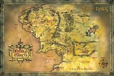 "LORD OF THE RINGS MOVIE POSTER ""Middle Earth MAP, J.R. Tolkien"" NEW Licensed Art"
