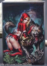 Naughty Red Riding Hood Pinup Girl - Fridge / Locker Magnet. GGA