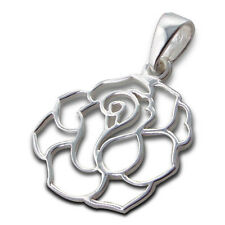 925 Sterling Silver Pendant - Filigree Rose Flower Outline 18mm - WithOUT Chain